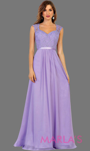 Long flowy lilac dress with lace back and cap sleeve. It has a satin band. Perfect for light purple bridesmaids,lavendar prom, wedding guest dress, formal gown, destination wedding, long party dress, western dress, damas. Available in Plus Sizes.