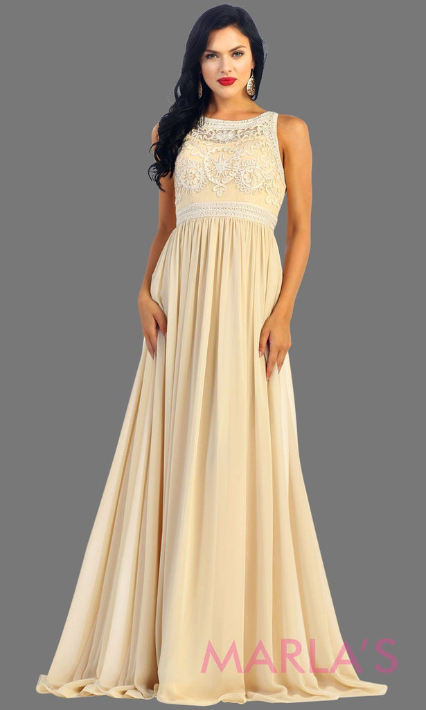 Long Flowy High Neck Champagne Lace Dress
