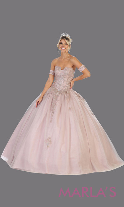 Long mauve princess quinceanera strapless tube ball gown.Perfect for pinky purple Engagement ballgown dress, Quinceanera, Sweet 16, Sweet 15, Debut and dusty rose Wedding bridal Reception Dress. Available in plus sizes.