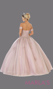 Back of Long mauve princess quinceanera strapless tube ball gown.Perfect for pinky purple Engagement ballgown dress, Quinceanera, Sweet 16, Sweet 15, Debut and dusty rose Wedding bridal Reception Dress. Available in plus sizes.