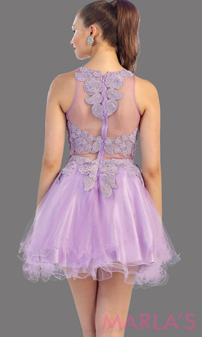 Back of short lilac high neck puffy dress with lace bodice. This is perfect light purple cupcake dress for grade 8 graduation, lavendar damas dress, homecoming, bridal shower. Available in plus sizes