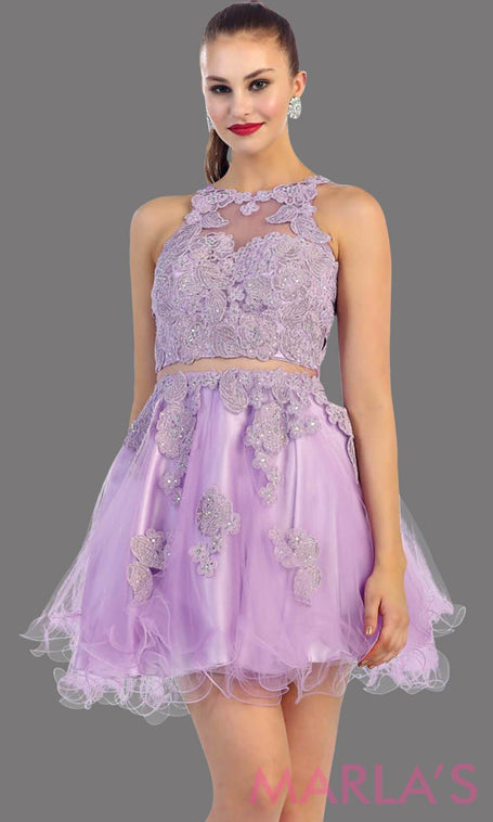 Short lilac high neck puffy dress with lace bodice. This is perfect light purple cupcake dress for grade 8 graduation, lavendar damas dress, homecoming, bridal shower. Available in plus sizes.
