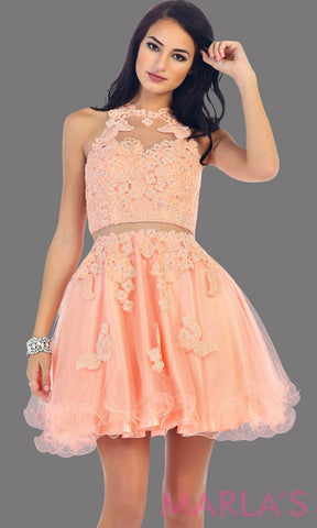 Short peach high neck puffy dress with lace bodice. This is perfect light coral cupcake dress for grade 8 graduation, peach damas dress, homecoming, bridal shower. Available in plus sizes
