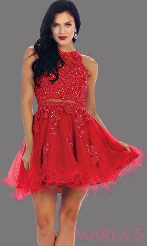 Short red high neck puffy dress with lace bodice. This is perfect red cupcake dress for grade 8 graduation, red damas dress, homecoming, bridal shower. Available in plus sizes.