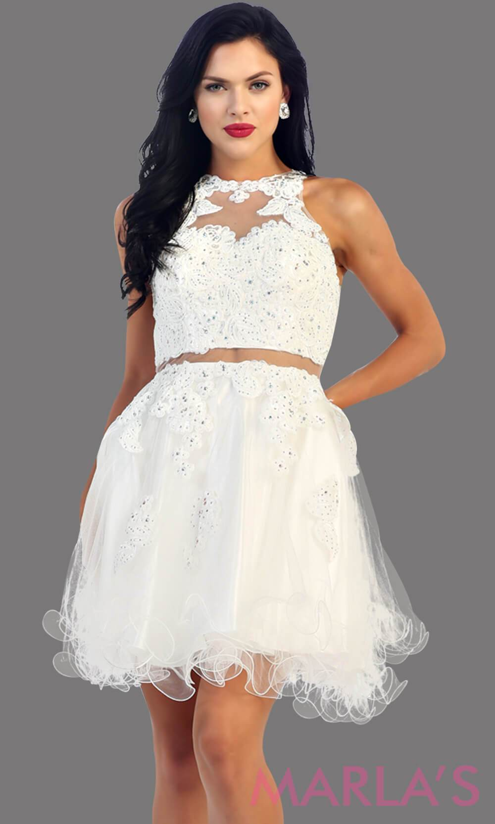 Short white high neck puffy dress with lace bodice. This is perfect white cupcake dress for grade 8 graduation, white damas dress, homecoming, bridal shower. Available in plus sizes.