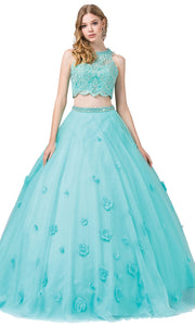 Dancing Queen - 1302 Two Piece Floral Ballgown In Blue