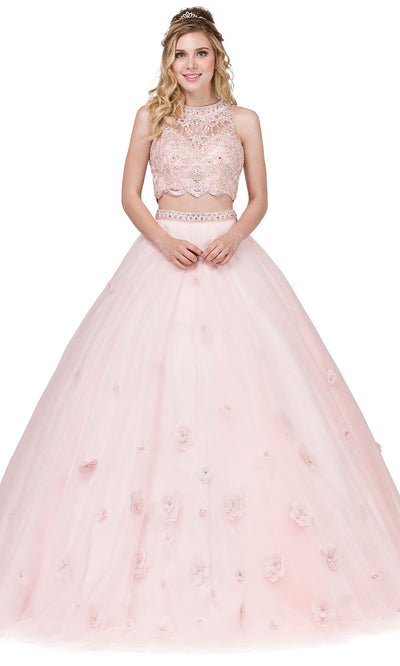 Dancing Queen - 1302 Two Piece Floral Ballgown In Pink