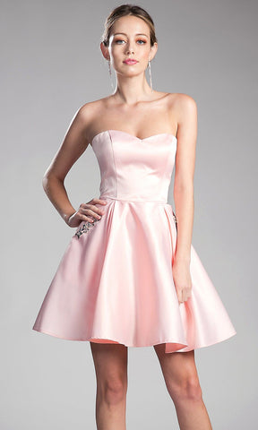 * Short Light Pink Strapless Dress with Pockets