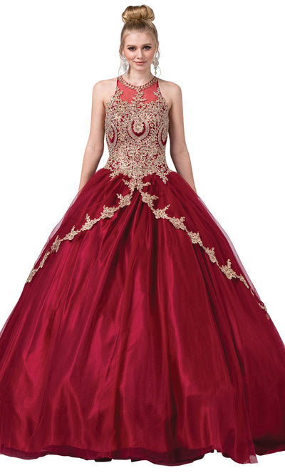 Dancing Queen - 1326 Embroidered Halter Neck Ballgown In Red