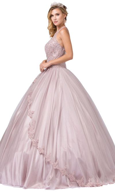 Dancing Queen - 1326 Embroidered Halter Neck Ballgown In Pink