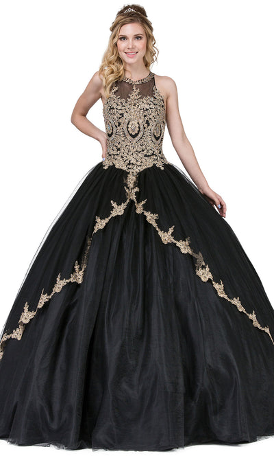 Dancing Queen - 1326 Embroidered Halter Neck Ballgown In Black
