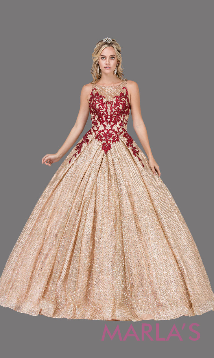 Long high neck champagne gold quinceanera ballgown with burgundy. This gold ball gown can be worn for Sweet 16 Birthday, Sweet 15, Engagement Ball Gown Dress, Wedding Reception Dress, Debut or 18th Birthday, indowestern gown. Plus sizes Avail.