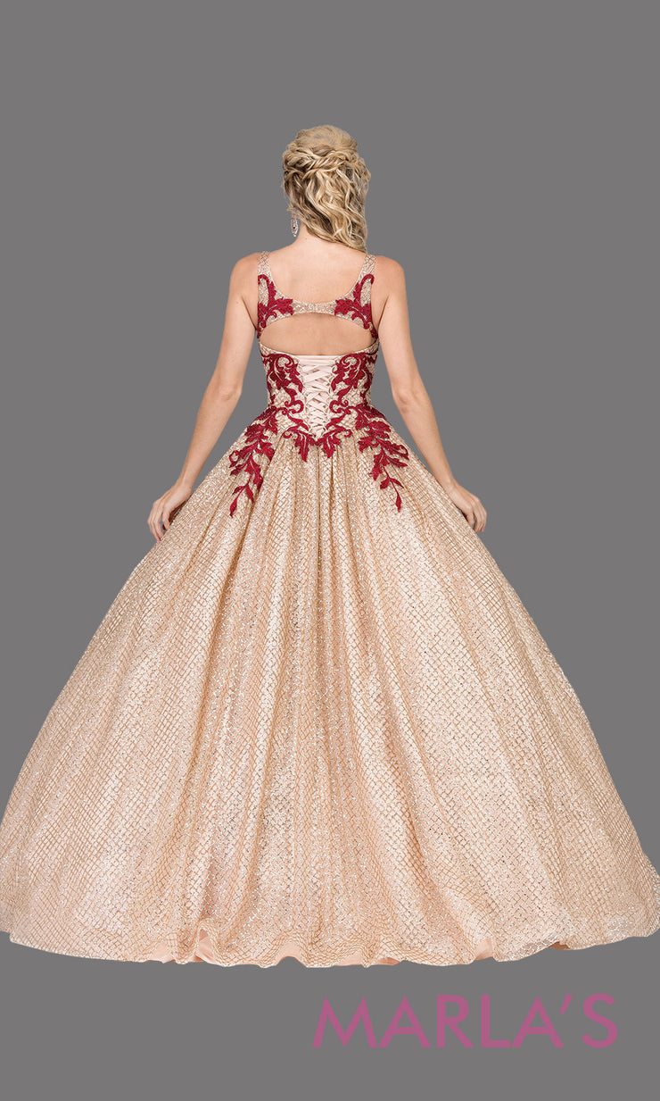 Long high neck champagne gold quinceanera ballgown with burgundy.This gold ball gown can be worn for Sweet 16 Birthday,Sweet 15, Engagement Ball Gown Dress, Wedding Reception Dress,Debut or 18th Birthday, indowestern gown.Plus sizes Avail.