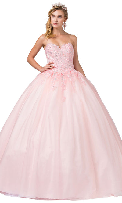 Dancing Queen - 1337 Strapless Beaded Applique Ballgown In Pink