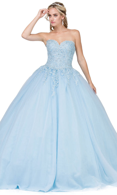 Dancing Queen - 1337 Strapless Beaded Applique Ballgown In Blue