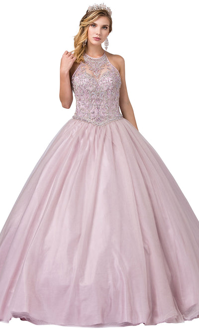 Dancing Queen - 1340 Jewel Beaded Halter Volume Ballgown In Purple and Gray