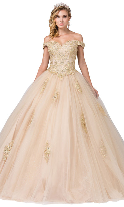 Dancing Queen - 1361 Off Shoulder Embellished Ballgown In Neutral