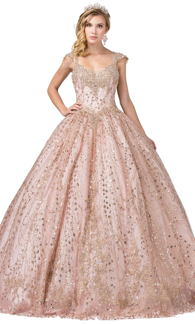 Dancing Queen - 1397 Embellished V Neck Ballgown In Pink