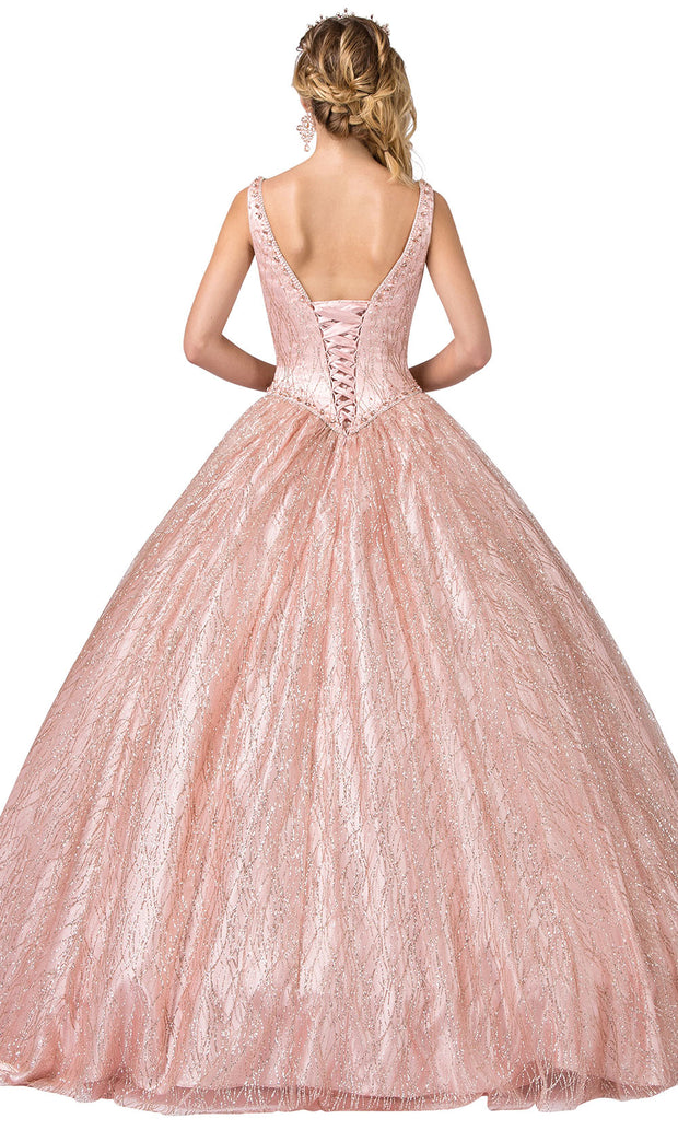 Dancing Queen - 1400 Sleeveless Glittery Shiny Ballgown In Pink and Gold