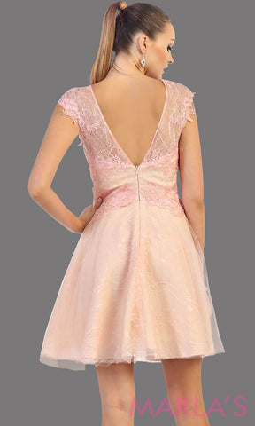 Back of high neck short blush puffy dress with lace bodice. This pink short grade 8 graduation dress has a low v back. This is perfect for homecoming, semi formal, or party dress. Available in plus sizes