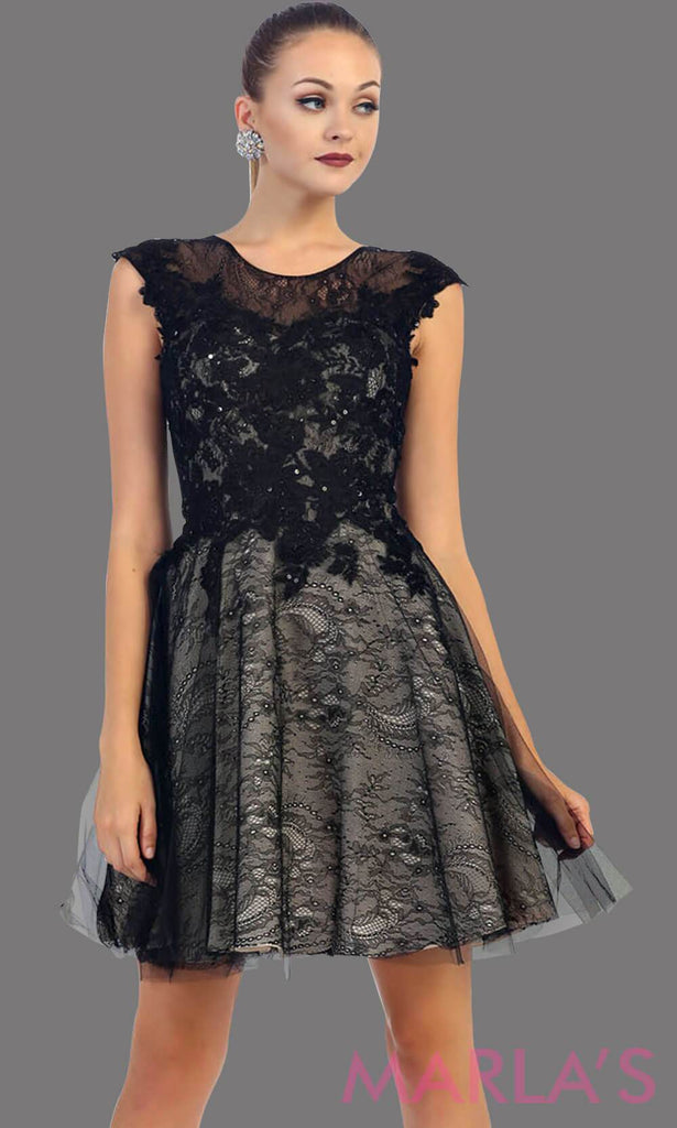 Short High Neck Lace Frock Black Dress 140113s Marlasfashions