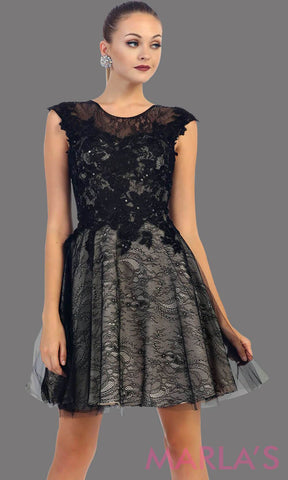 High neck short black puffy dress with lace bodice. This short grade 8 graduation dress has a low v back. This is perfect for homecoming, semi formal, or party dress. Available in plus sizes.