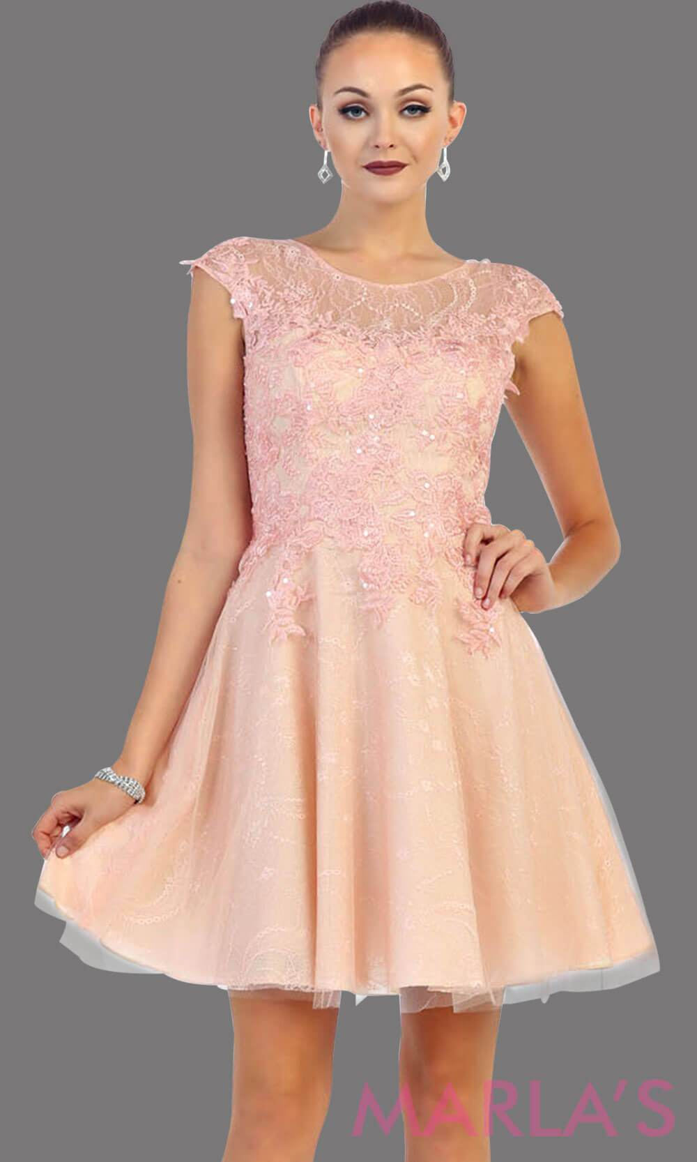 High neck short blush puffy dress with lace bodice. This pink short grade 8 graduation dress has a low v back. This is perfect for homecoming, semi formal, or party dress. Available in plus sizes.