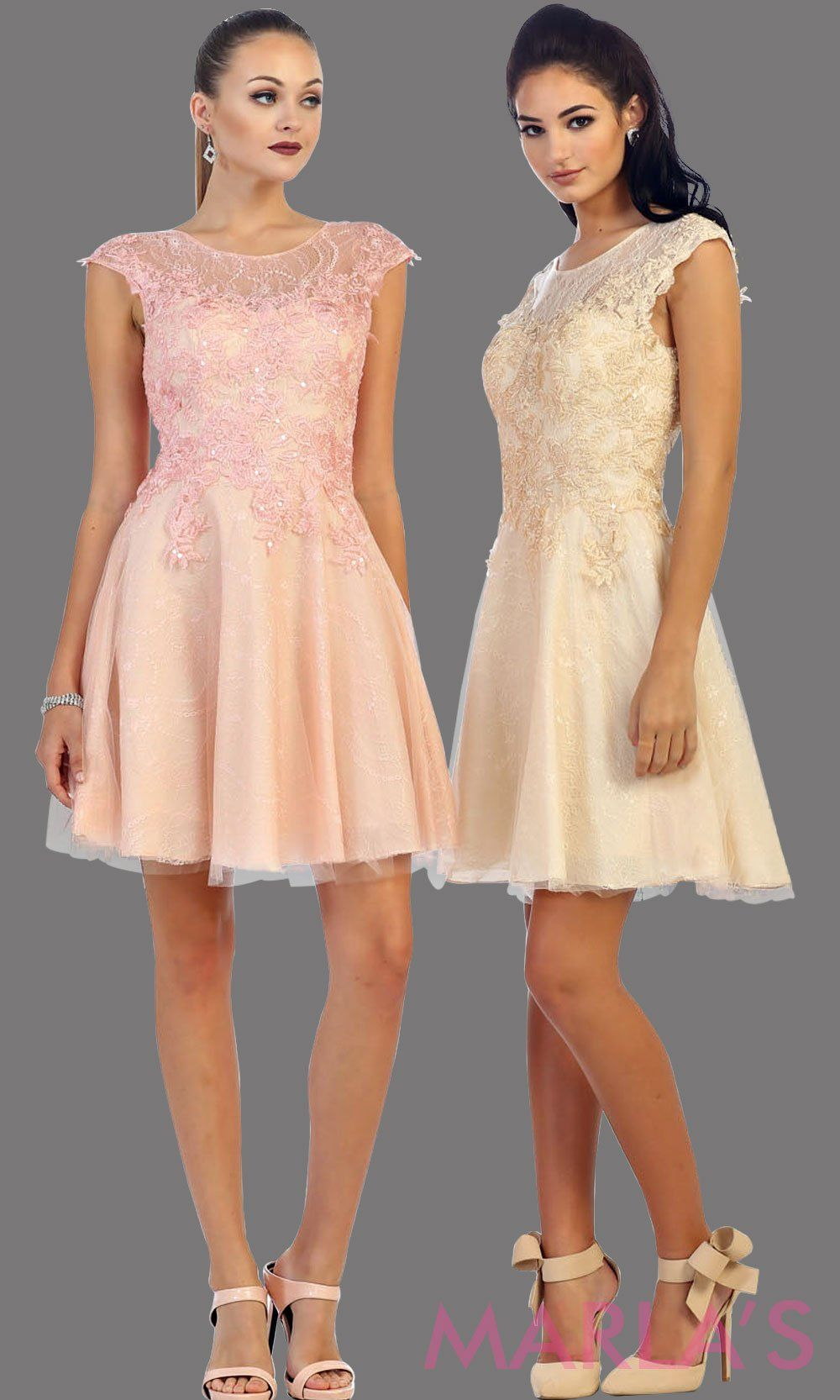 High neck short champagne puffy dress with lace bodice. This light beige short grade 8 graduation dress has a low v back. This is perfect for homecoming, semi formal, or party dress. Available in plus sizes