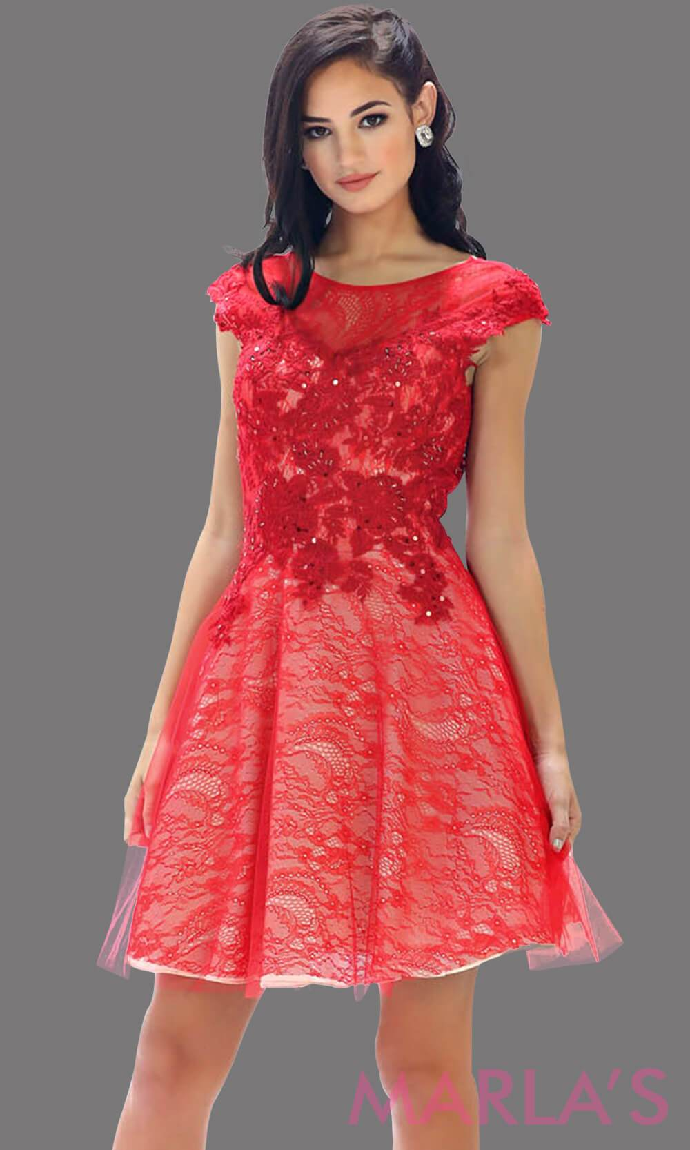 High neck short red puffy dress with lace bodice. This short grade 8 graduation dress has a low v back. This is perfect for homecoming, semi formal, or party dress. Available in plus sizes