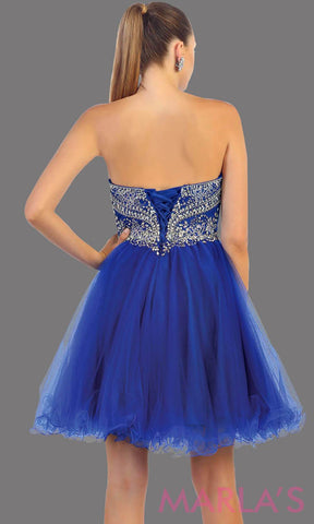 Back of short strapless puffy royal blue dress. This short blue grade 8 graduation dress has sequin bodice and corset back. This is perfect for homecoming, semi formal, bridal shower. Available in plus sizes