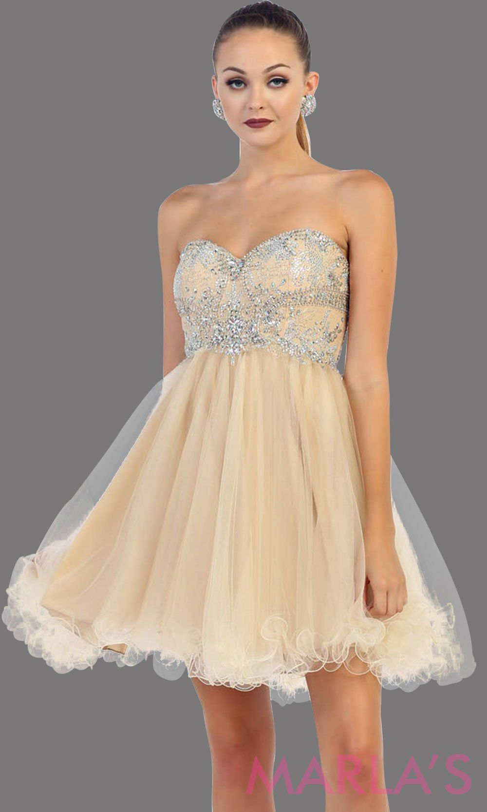 Short strapless puffy champagne dress. This short light gold grade 8 graduation dress has sequin bodice and corset back. This is perfect for homecoming, semi formal, bridal shower. Available in plus sizes.