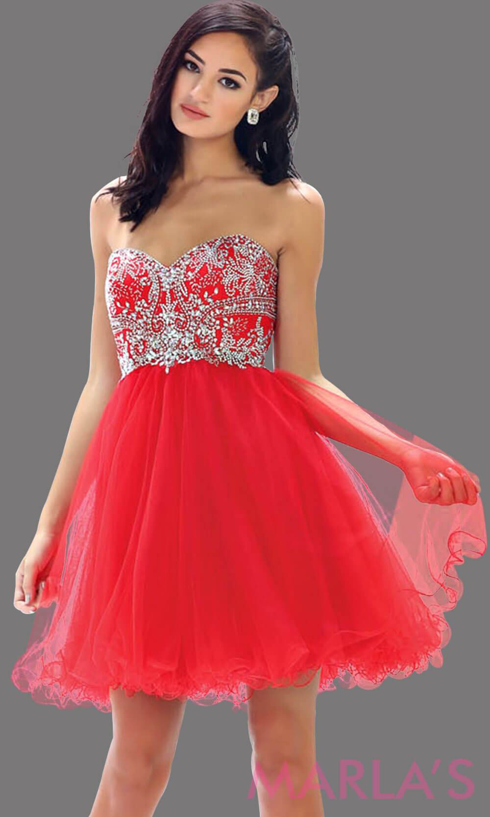 Short strapless puffy red dress. This short red grade 8 graduation dress has sequin bodice and corset back. This is perfect for homecoming, semi formal, bridal shower. Available in plus sizes