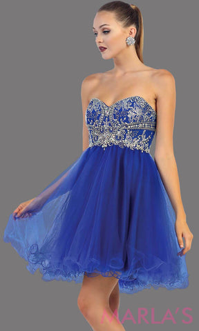 Short strapless puffy royal blue dress. This short blue grade 8 graduation dress has sequin bodice and corset back. This is perfect for homecoming, semi formal, bridal shower. Available in plus sizes