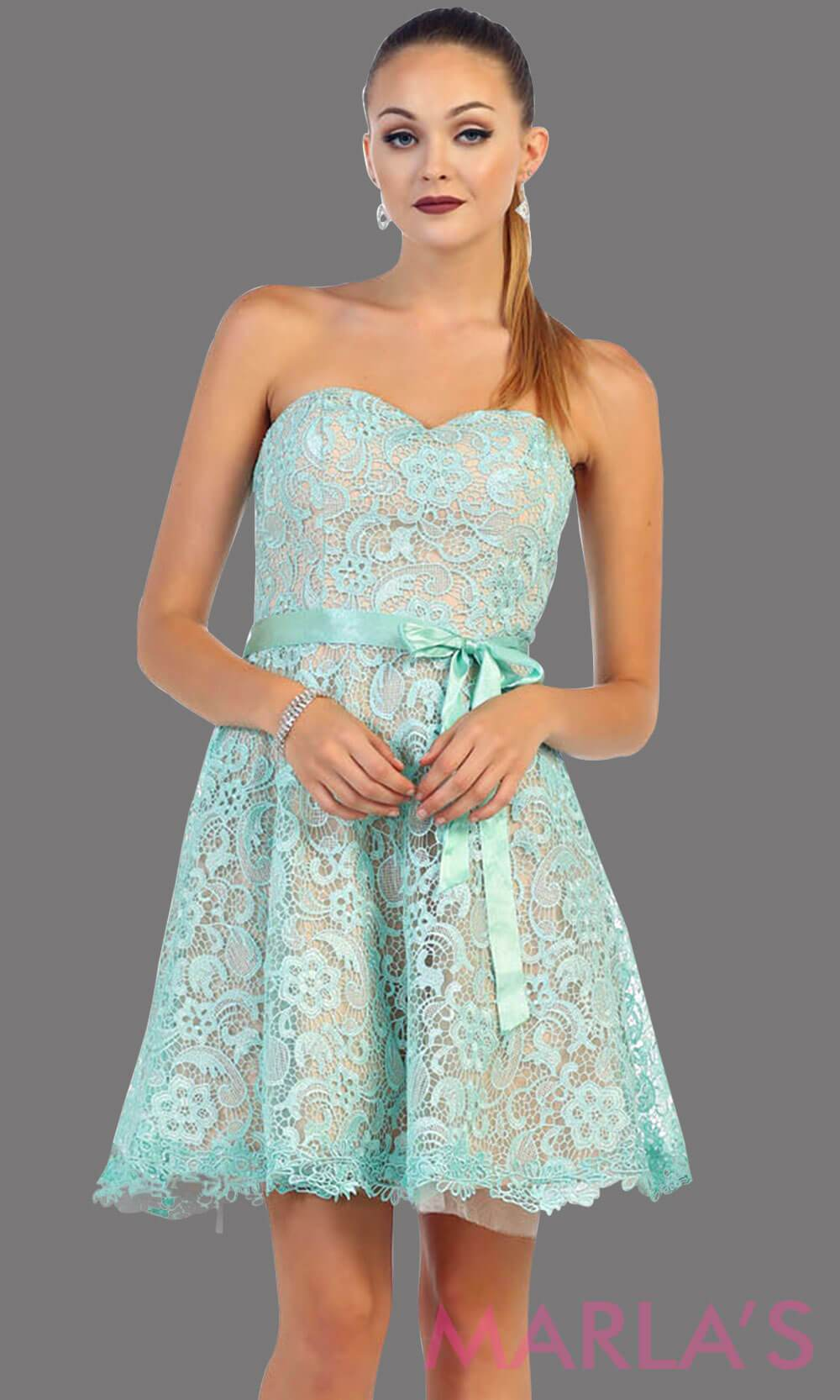 Short strapless aqua lace dress with satin ribbon. This light blue dress is perfect for grade 8 graduation, party dress, semi formal or even homecoming. It is available in plus sizes