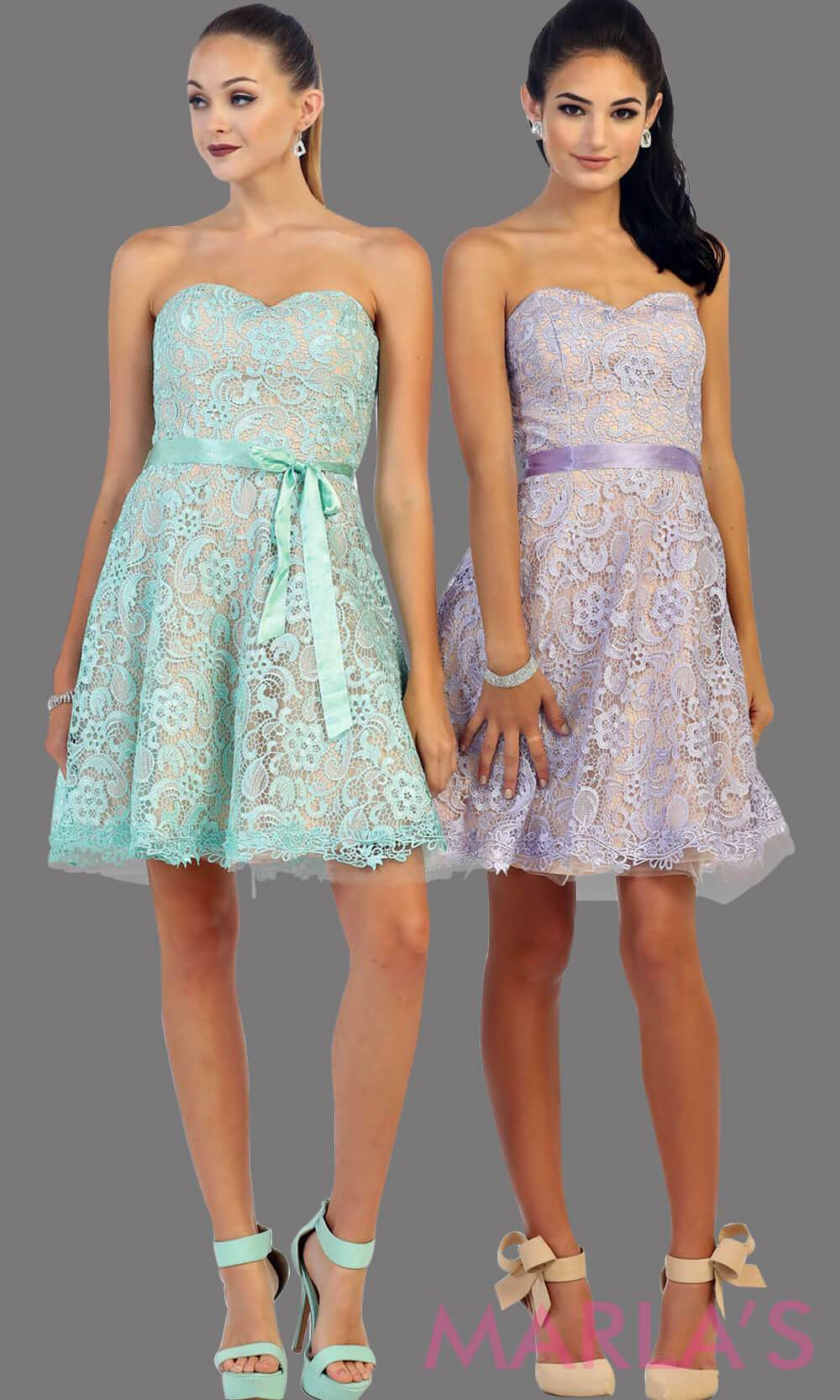 Short strapless lilac lace dress with satin ribbon. This light purple dress is perfect for grade 8 graduation, party dress, semi formal or even homecoming. It is available in plus sizes