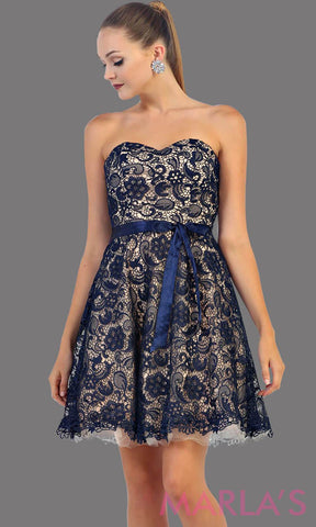 Short strapless navy lace dress with satin ribbon. This dark blue dress is perfect for grade 8 graduation, party dress, semi formal or even homecoming. It is available in plus sizes