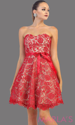 Short strapless red lace dress with satin ribbon. This red dress is perfect for grade 8 graduation, party dress, semi formal or even homecoming. It is available in plus sizes