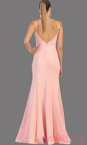 Long Fitted Champagne Dress with Low V Back