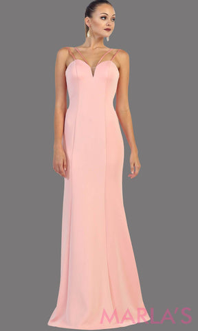 Long fitted blush dress with spaghetti straps. The back has a low V and is a perfect prom dress, or to attend a wedding as a wedding guest