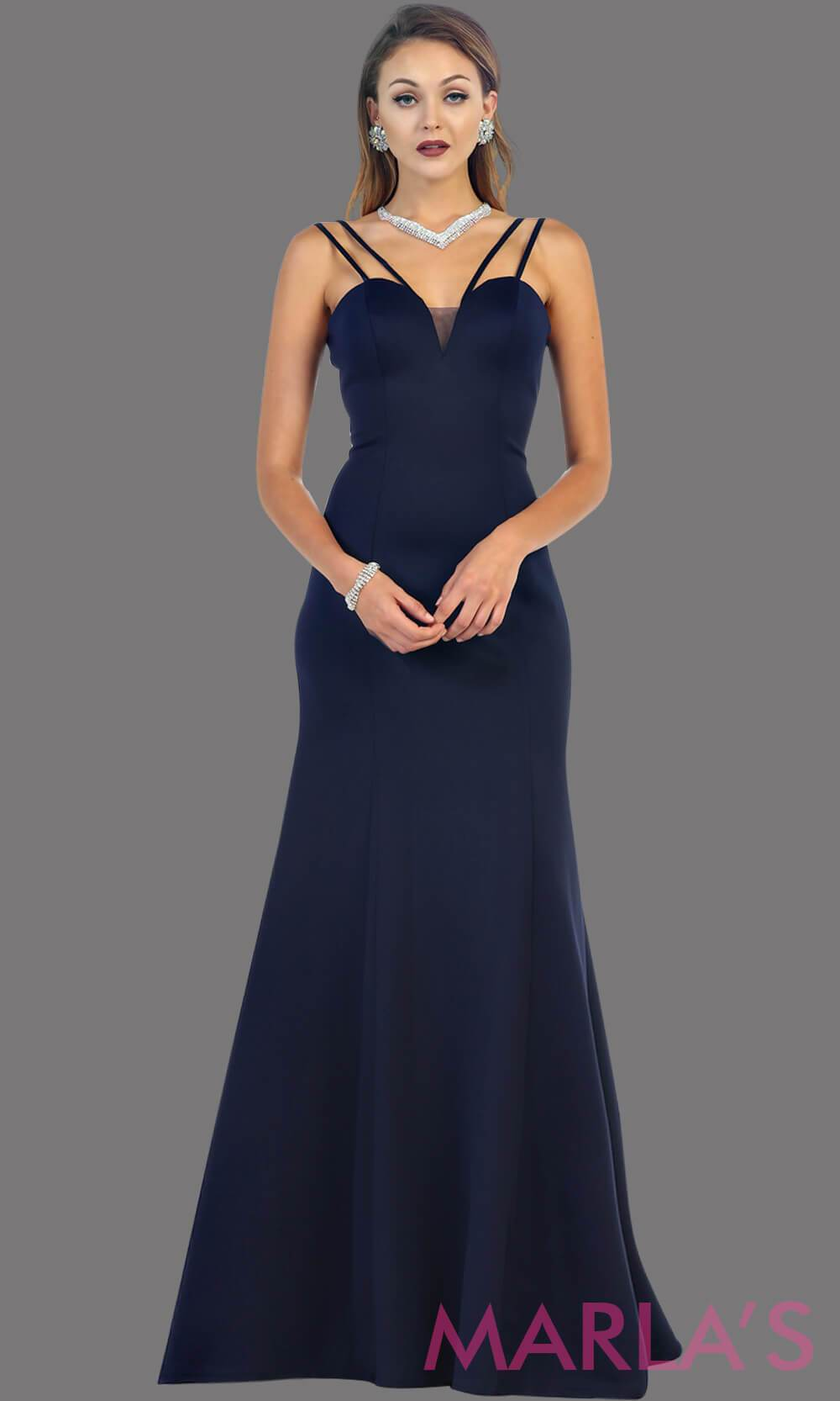 Long Fitted Navy Dress with Low V Back