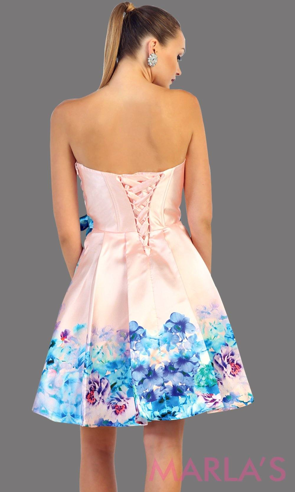 Back of short floral satin dress with strapless neckline. This is a beautiful pink grade 8 grad dress, semi formal, wedding guest dress, or even semi formal. Available in plus sizes