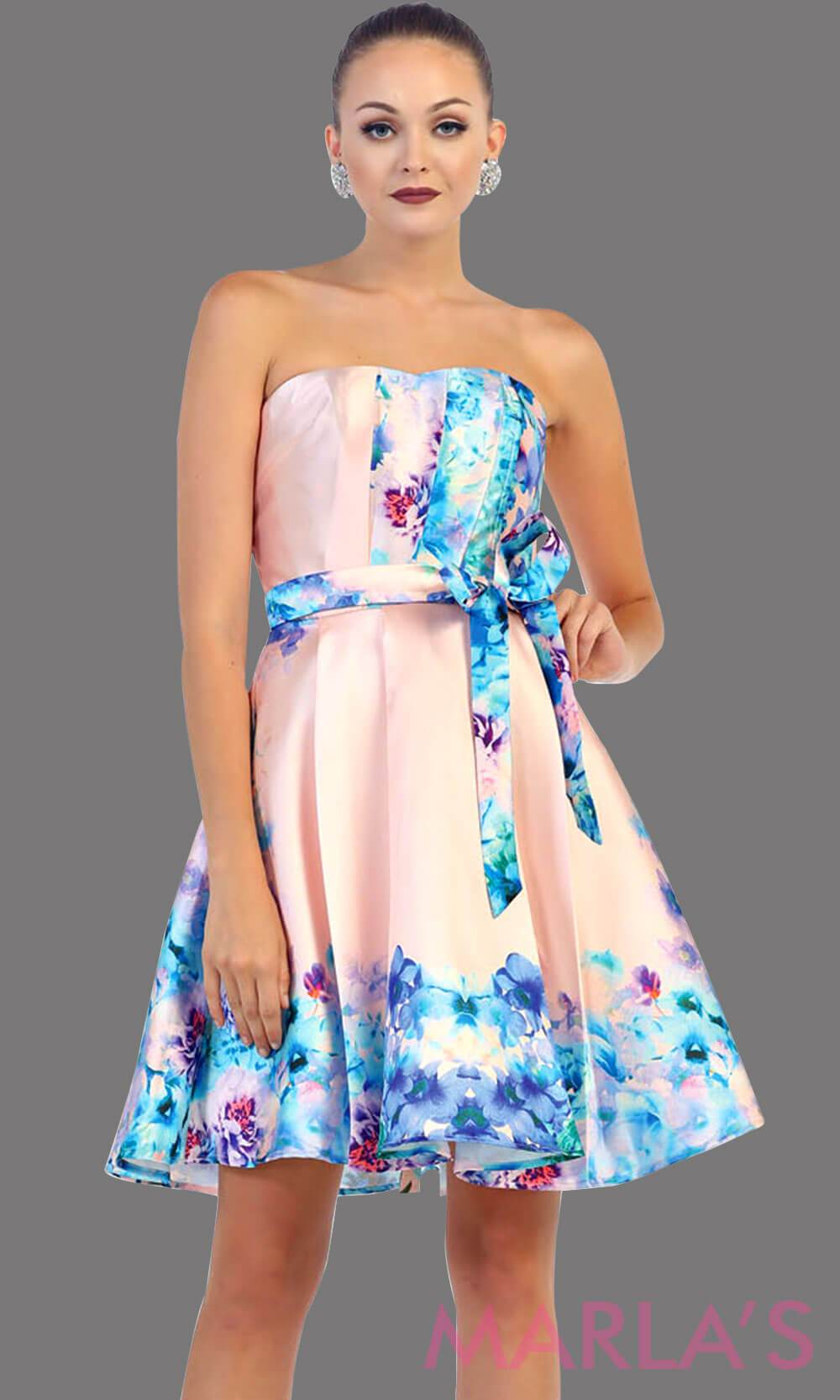 Short floral satin dress with strapless neckline. This is a beautiful pink grade 8 grad dress, semi formal, wedding guest dress, or even semi formal. Available in plus sizes
