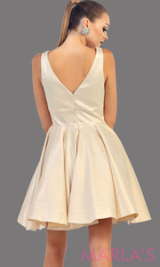 Back of short champagne satin v neck dress with wide straps. This is the perfect short light gold dress for grade 8 graduation, wedding guest dress, gold confirmation dress. Available in plus sizes
