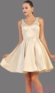 Short champagne satin v neck dress with wide straps. This is the perfect short light gold dress for grade 8 graduation, wedding guest dress, gold confirmation dress. Available in plus sizes