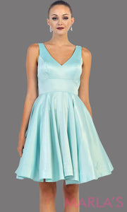 Short light blue satin v neck dress with wide straps. This is the perfect short blue dress for grade 8 graduation, wedding guest dress, baby blue confirmation dress. Available in plus sizes