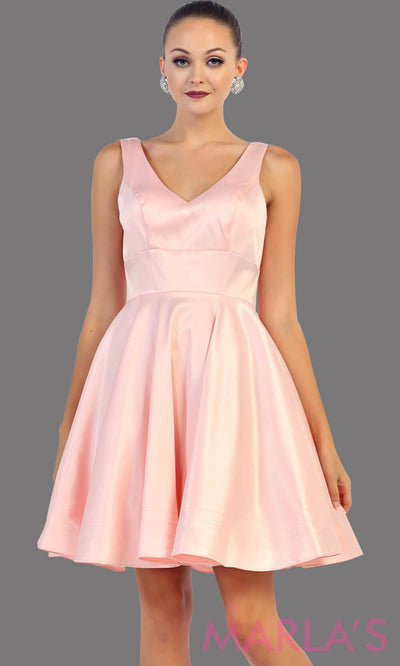 Short light pink satin v neck dress with wide straps. This is the perfect short blush dress for grade 8 graduation, wedding guest dress, blush confirmation dress. Available in plus sizes