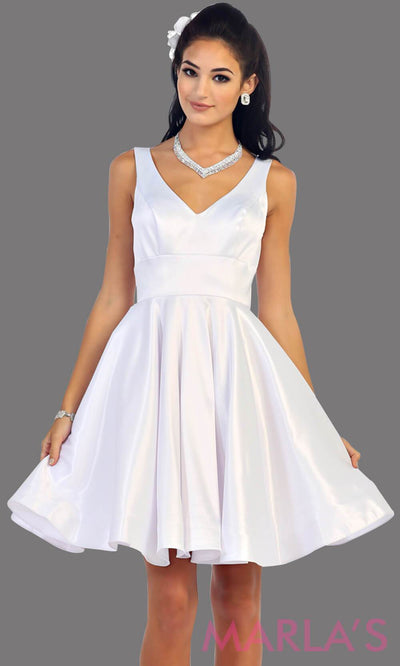 Short white satin v neck dress with wide straps. This is the perfect short dress for grade 8 graduation, bridal shower dress, rehersal dress, white confirmation dress. Available in plus sizes