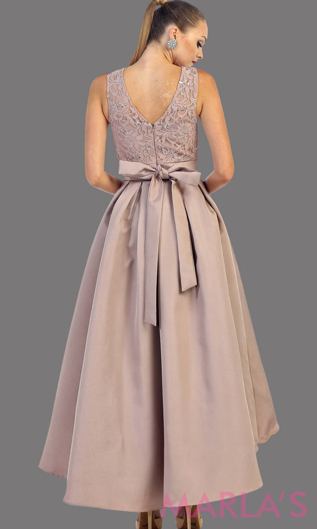 High low champagne dress with lace bodice and satin skirt. This is a perfect taupe dress for attending a wedding as a guest, prom, grade 8 graduation