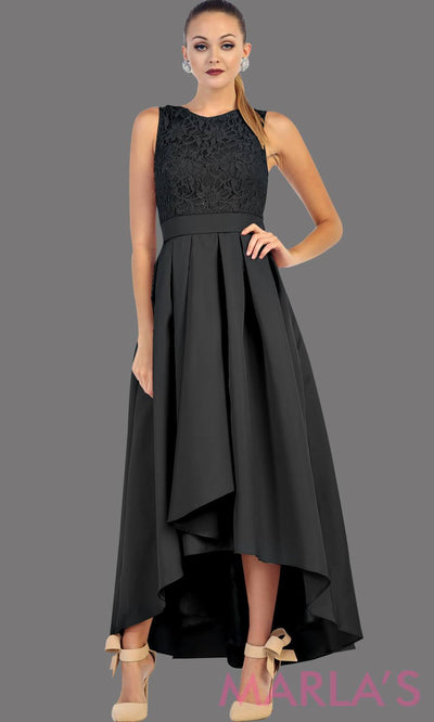 High low black dress with lace bodice and satin skirt. This is a perfect dress for attending a wedding as a guest, prom, grade 8 graduation