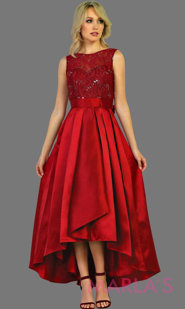 High low burgundy red dress with lace bodice and satin skirt. This dark red hi lo is perfect for attending a wedding as a guest, prom, grade 8 graduation, bridesmaid dresses, mother of bride, graduation. Plus size Availabl